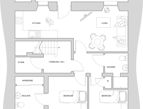 James Valentine Quarters  (basement) floorplan